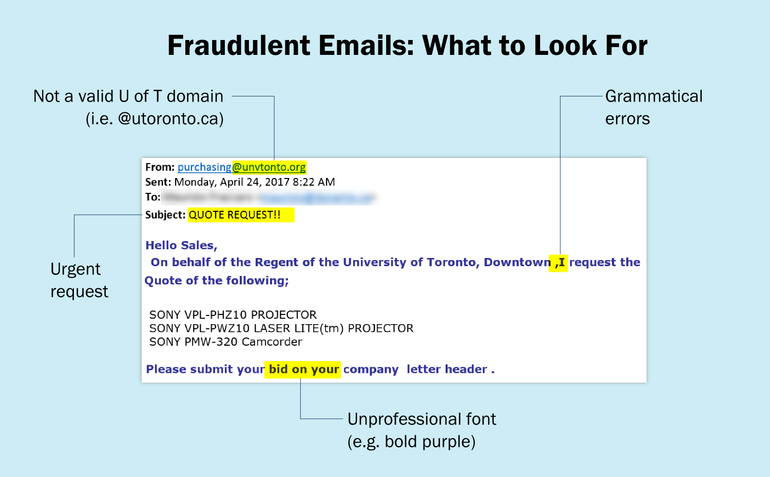 fraudulent email things to look for